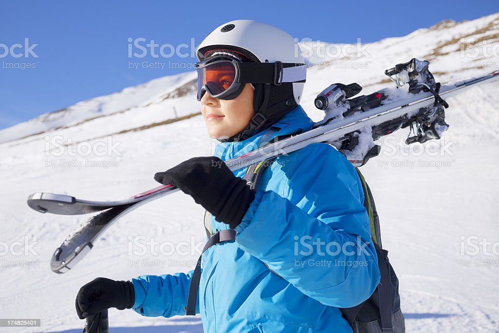 Young boy with ski equipment royalty-free stock photo