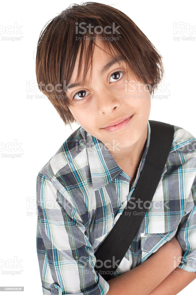Young boy with smiling expression isolated on white stock photo