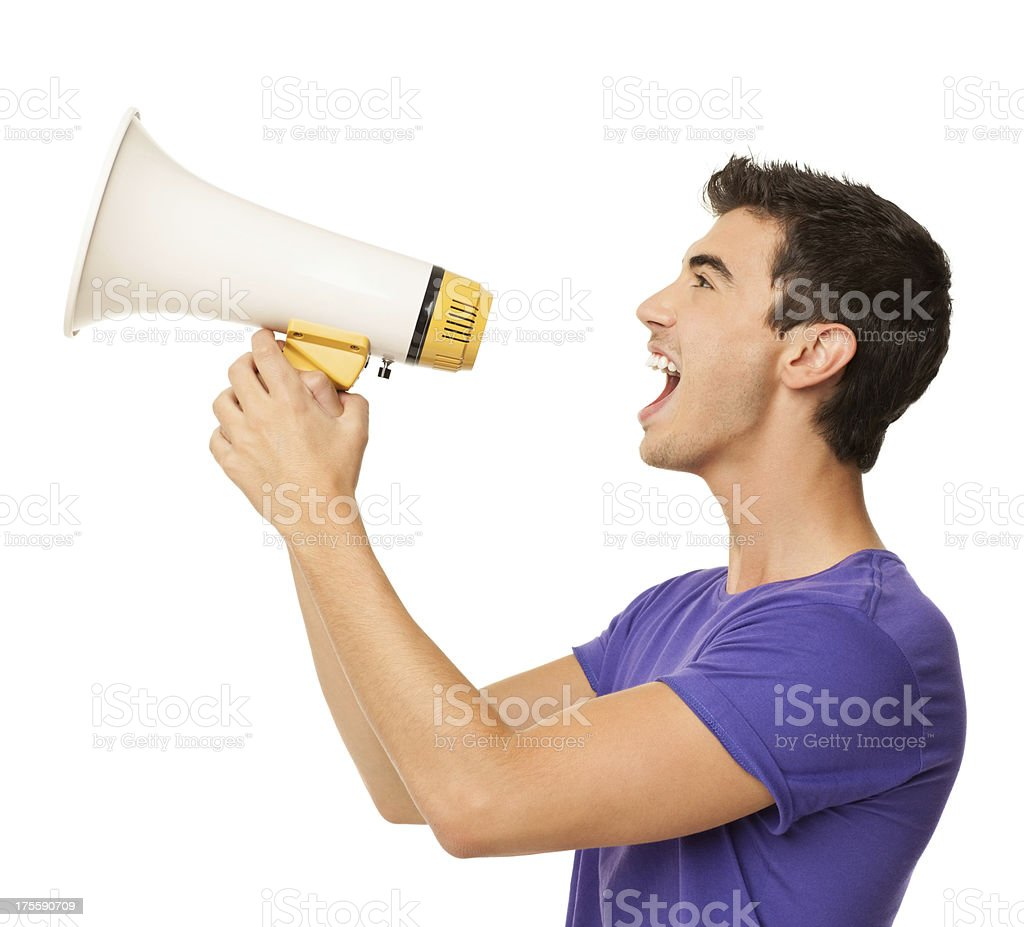 Young Boy Yelling Into Bullhorn - Isolated stock photo
