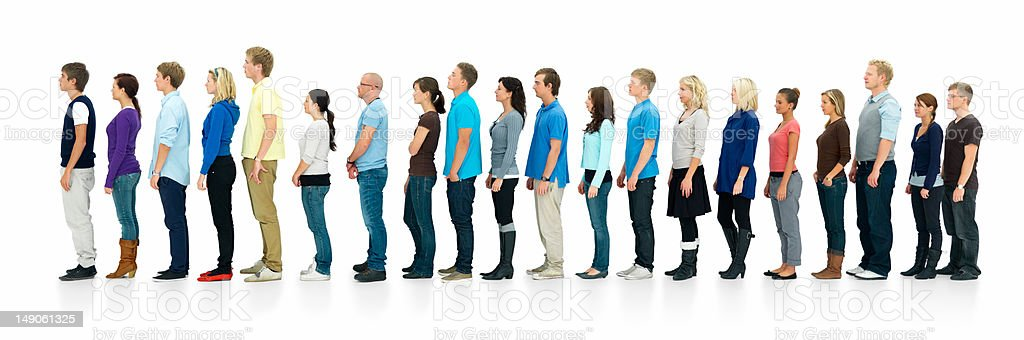 Young boys and girls standing in a line royalty-free stock photo