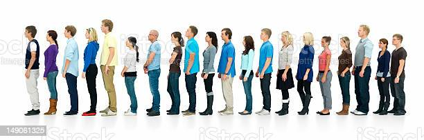 Young Boys And Girls Standing In A Line Stock Photo - Download Image Now