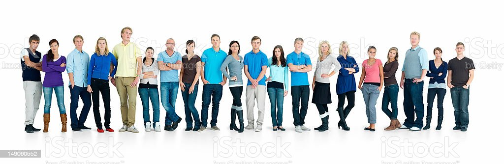 Young boys and girls standing together in a line stock photo