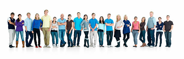 Young boys and girls standing together in a line Young boys and girls standing together in a line over white background people in a row stock pictures, royalty-free photos & images