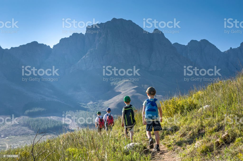 Young Boys Hiking Rear View stock photo