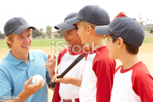 istock Young Boys In Baseball Team With Coach 151917145