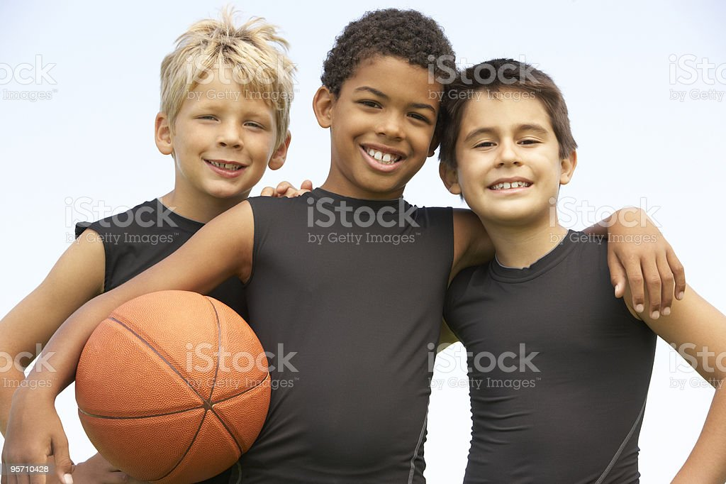 Young Boys Playing Basketball royalty-free stock photo