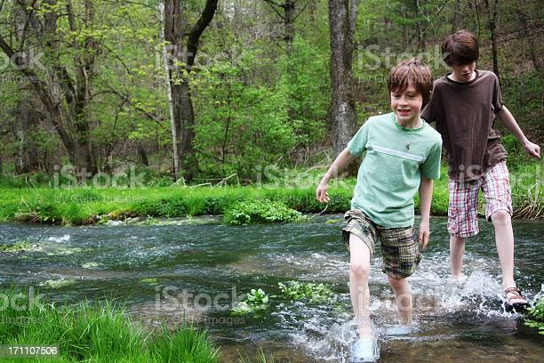 Photo of Young boys wading through a stream flowing across a forest