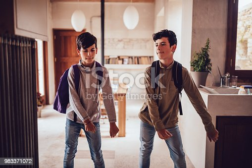 istock Young boys with backpacks doing the floss dance at home 983371072