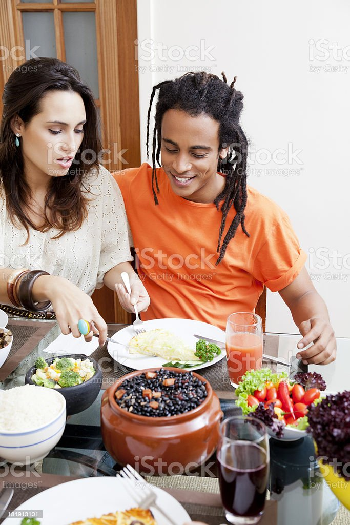 Young Brazilian couple enjoying lunch royalty-free stock photo