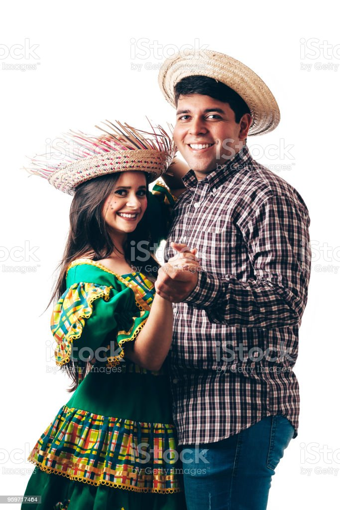 Young Brazilian couple wearing typical clothes for Festa Junina stock photo