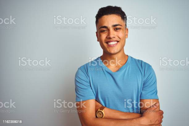 Young brazilian man wearing blue tshirt standing over isolated white picture id1162358018?b=1&k=6&m=1162358018&s=612x612&h=skfstvlexuckrbvvhfrf5cky1gs0vx6aqs1o0p3s188=