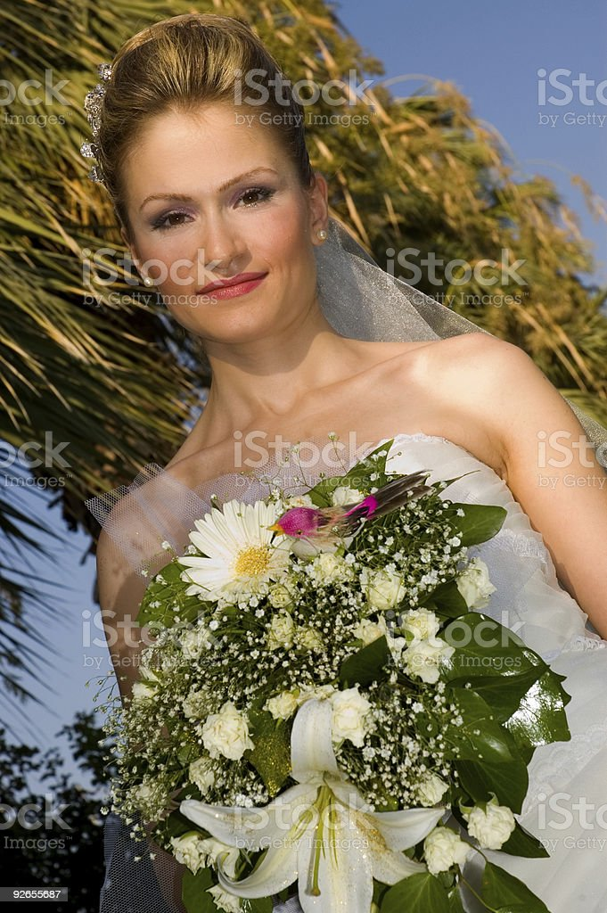 young bride and flowers royalty-free stock photo