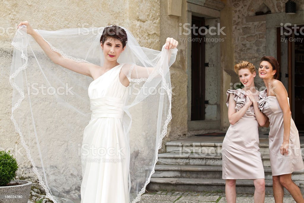 Young bride and her girl friends royalty-free stock photo