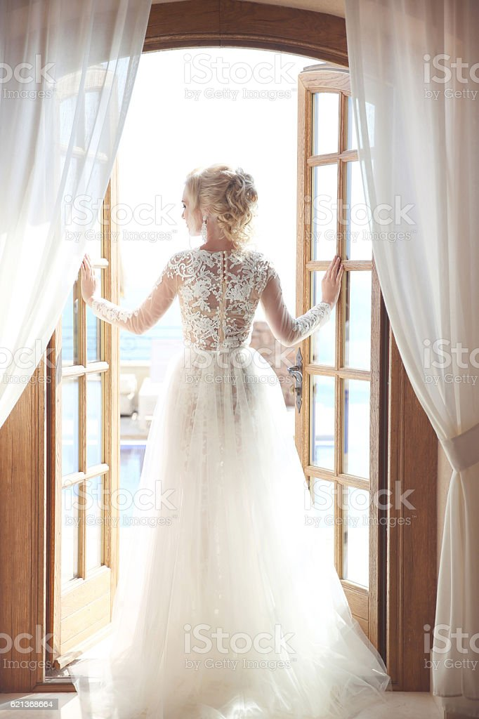 Young bride in gorgeous wedding dress with voluminous skirt stock photo