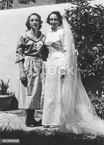 Young bride with her mother on Marriage day, 1950