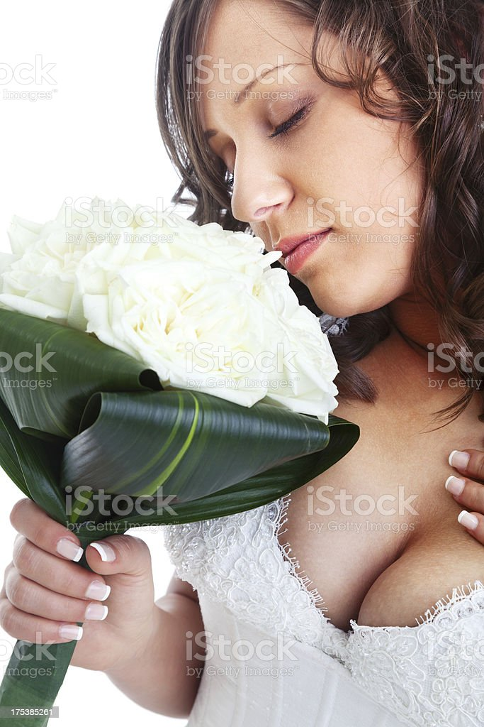 Young bride with wedding bouquet royalty-free stock photo