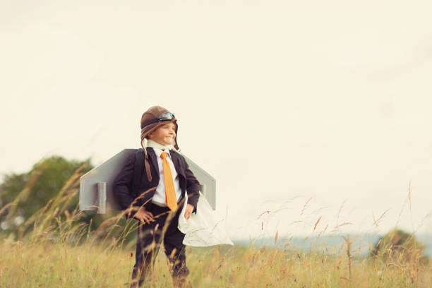 junge britische unternehmen junge tragen jet-pack - geschäftskleidung stock-fotos und bilder