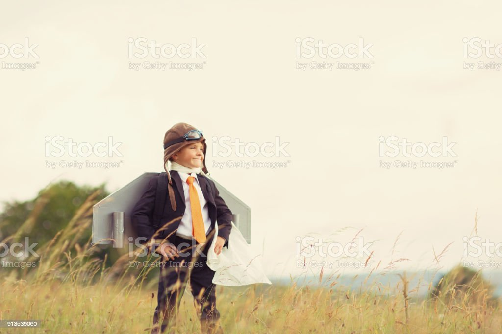 Young British Business Boy wearing Jet Pack stock photo