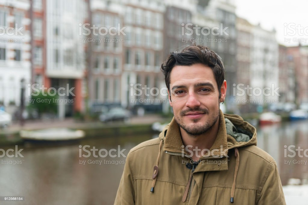 Young British man portrait in Amsterdam stock photo
