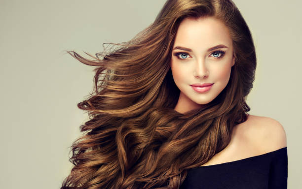 Young, brown haired beautiful model with long,  curly, well groomed hair. Excellent hair waves. Hairdressing art and hair care. stock photo