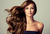 若い、茶色髪の美しいモデル髪の長い、波状、よく手入れをされました。髪を飛んでいます。