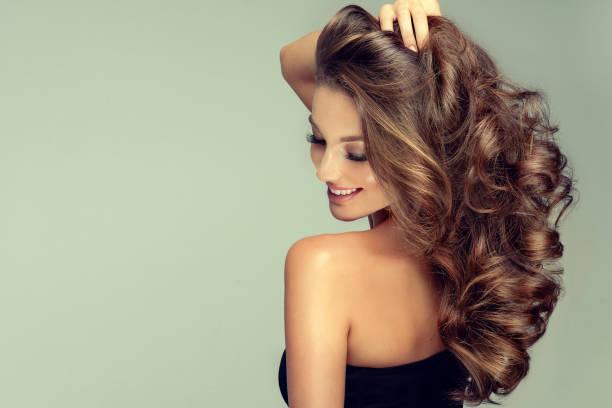a mulher de cabelo nova, marrom está tocando o cabelo macia do owne. cuidado com os cabelos. - longo - fotografias e filmes do acervo