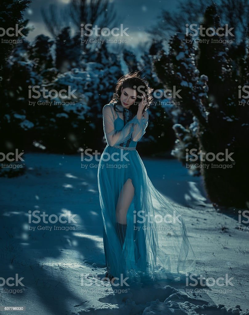 Young brunette girl is in blue vintage dress stock photo