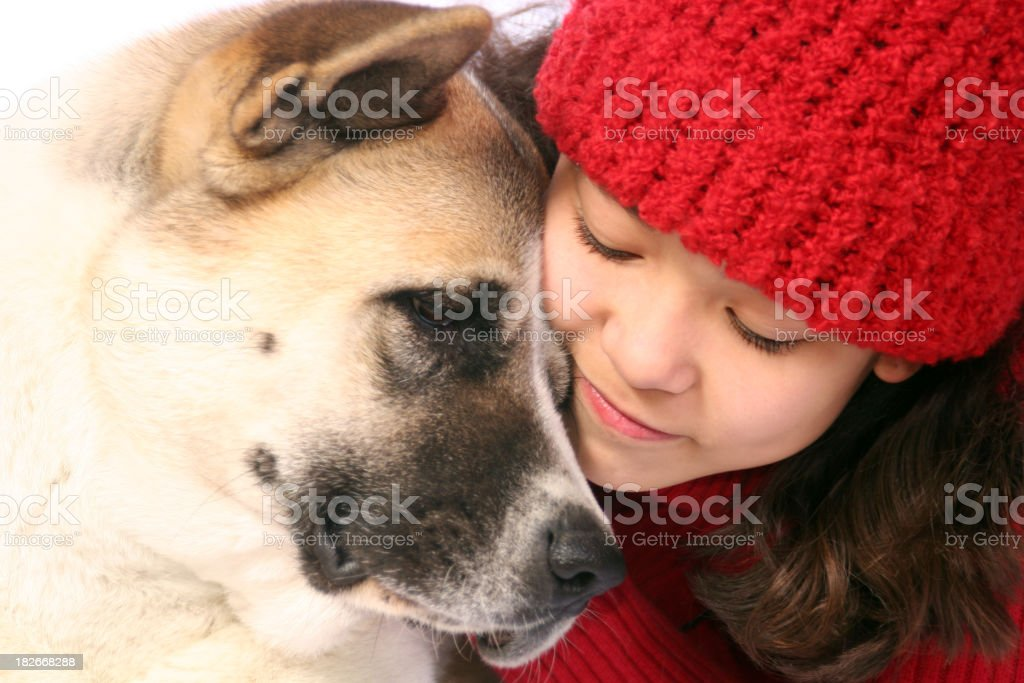 Young brunette girl wearing red beanie hugging brown dog royalty-free stock photo