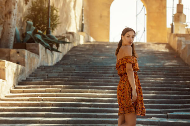 young brunette on vacation on Majorca stock photo