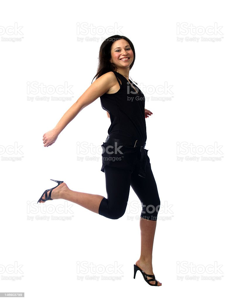 Young brunette running royalty-free stock photo