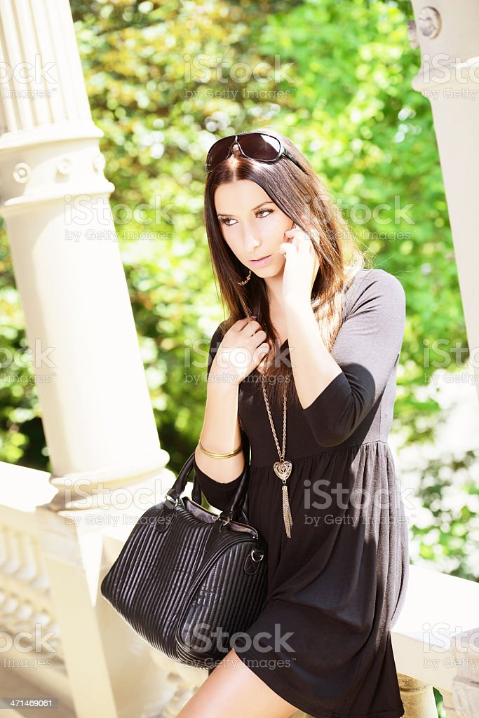 Young brunette Woman with Bag and Handy Summer, Germany