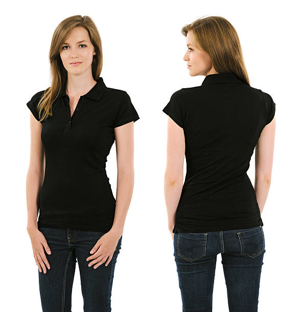Young brunette woman with blank black polo shirt stock photo