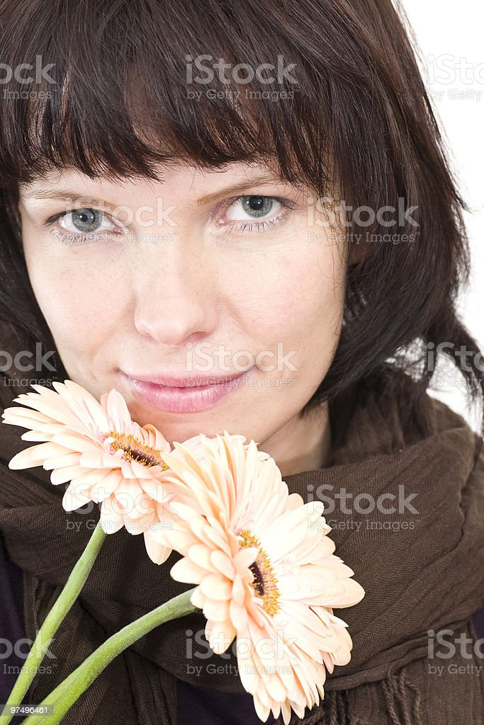 young brunette woman with flower royalty-free stock photo