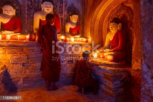 Young buddhist monks in Bagan, Myanmar