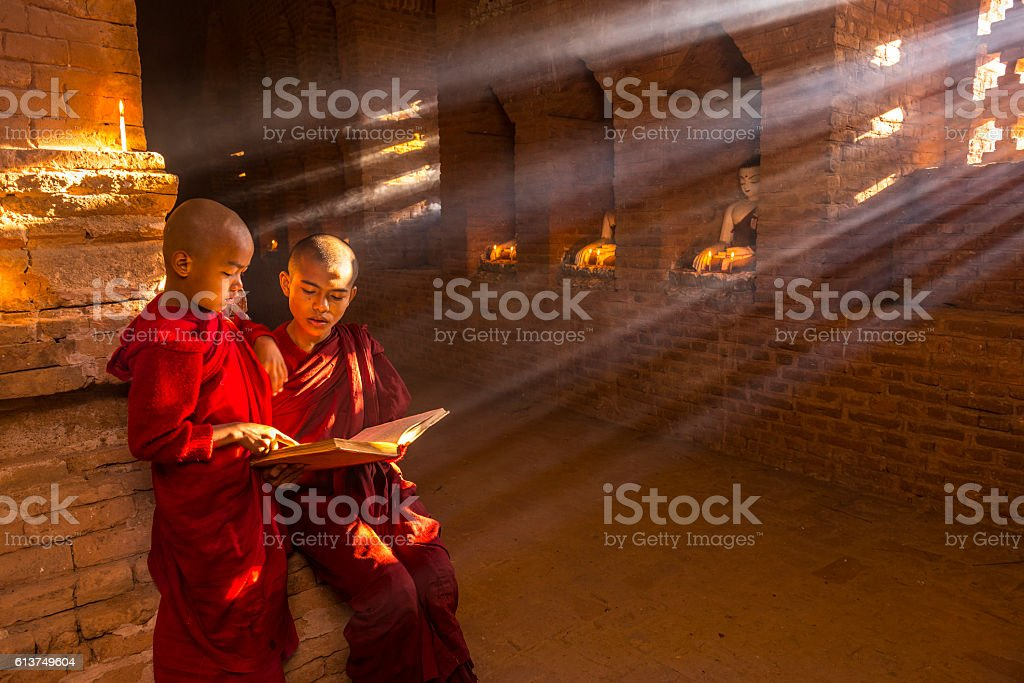 Young buddhist monks in Myanmar stock photo