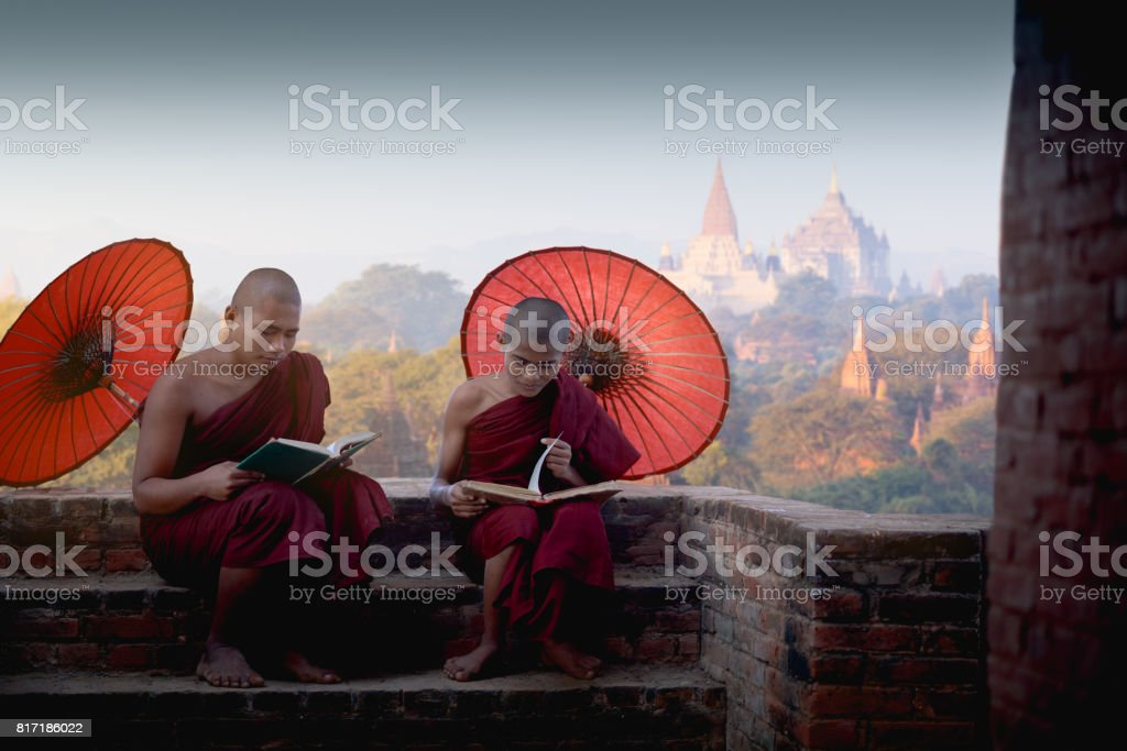 Young buddhist novices reading and study outside monastery stock photo