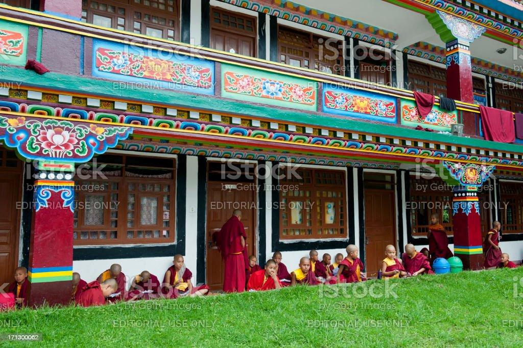 Young Buddhists Reading Lingdum Monastery Sikkim india royalty-free stock photo