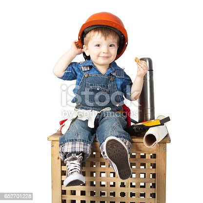 istock Young Builder in an orange helmet in rest isolated on white 652701228