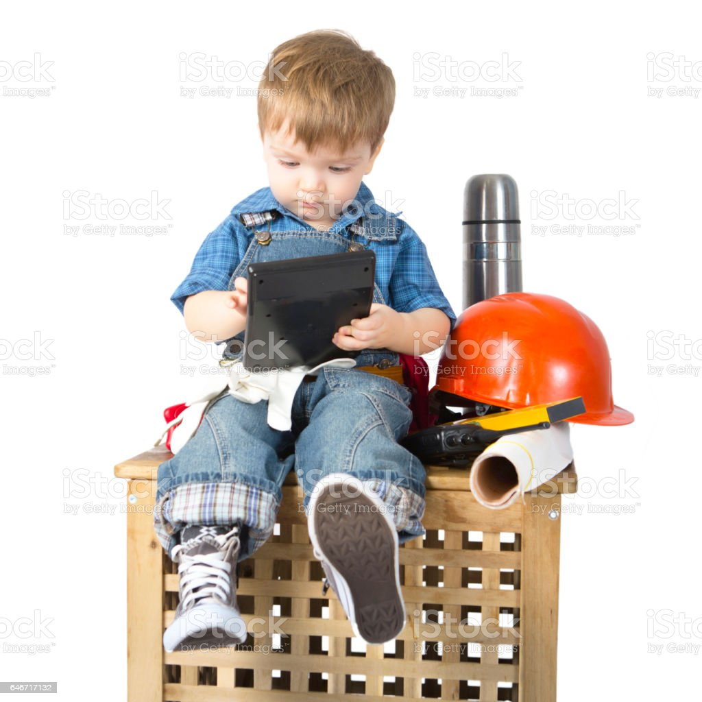Young Builder with calculator in rest isolated on white – Foto