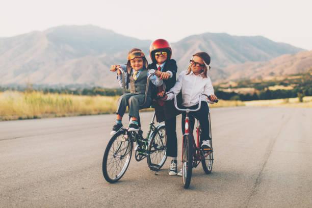 Young Business Biking Team stock photo