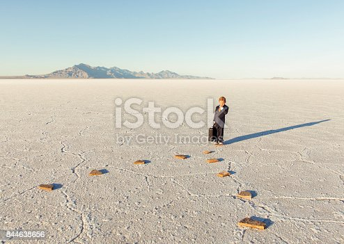 844638658 istock photo Young Business Boy On Stepping Stones 844638656