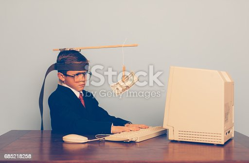 istock Young Business Boy Uses Motivation at Work 685218258