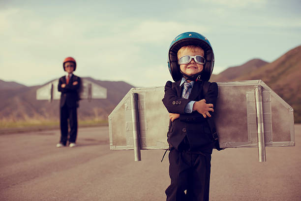young business boy wearing jetpack - daredevil stock pictures, royalty-free photos & images