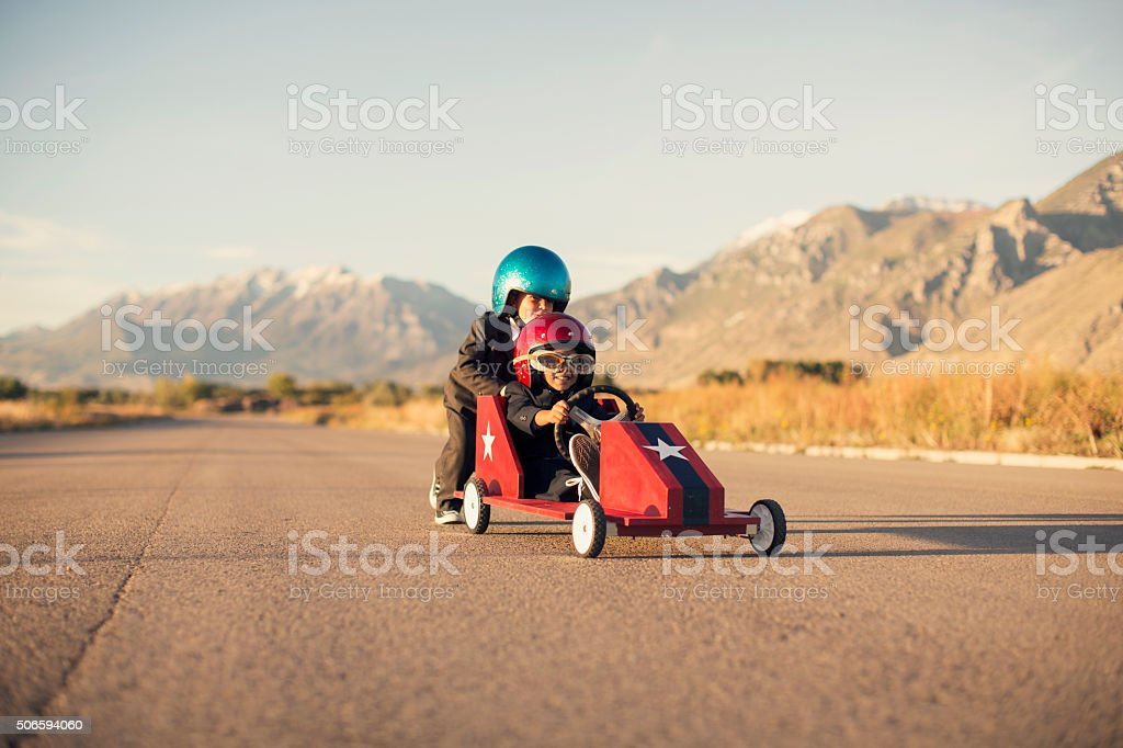 Young Business Boys Race Toy Car stock photo