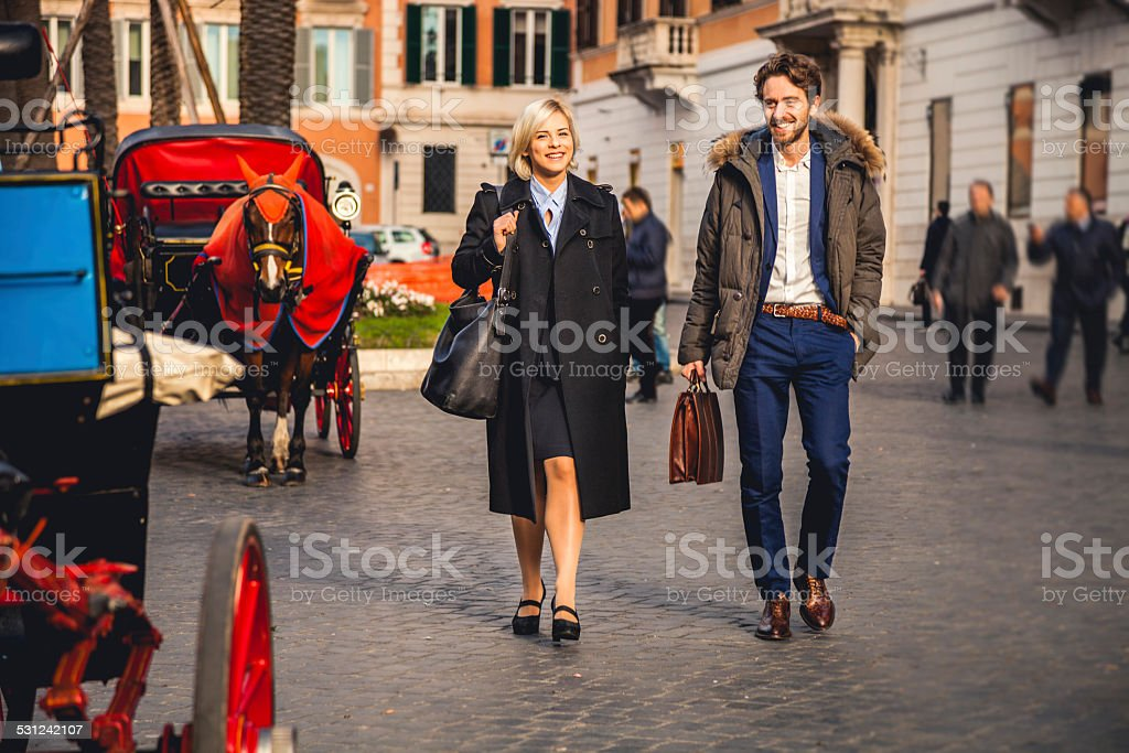 Young business couple in Rome stock photo