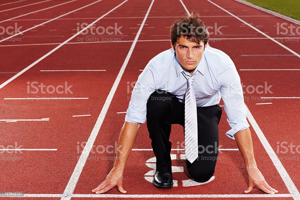 Young business executive is ready for race royalty-free stock photo