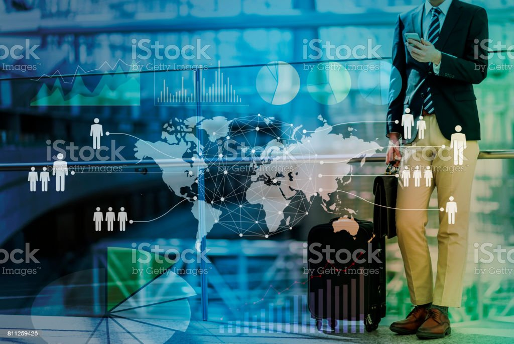 young business man and globalization concept stock photo