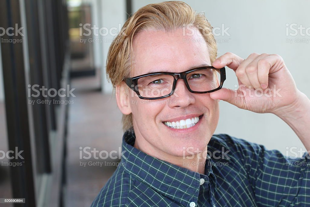 Young business man close up with classic glasses stock photo