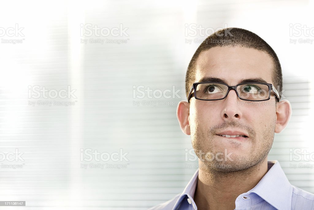 young business man doubt at office royalty-free stock photo
