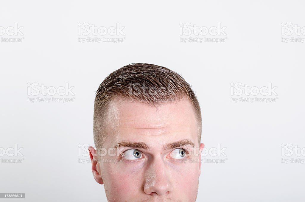 Young business man doubt at office stock photo